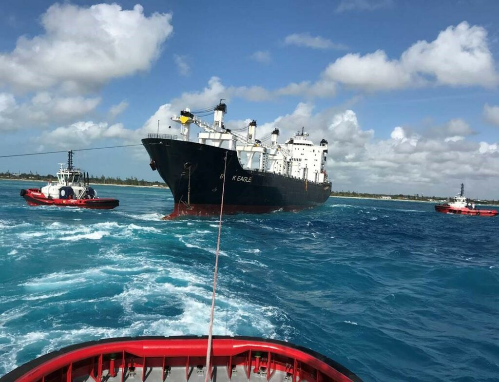 Successful towage assistance of grounded vessel in Bahama's